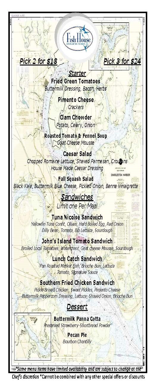 Charleston harbor fish house lunch for Fish house menu